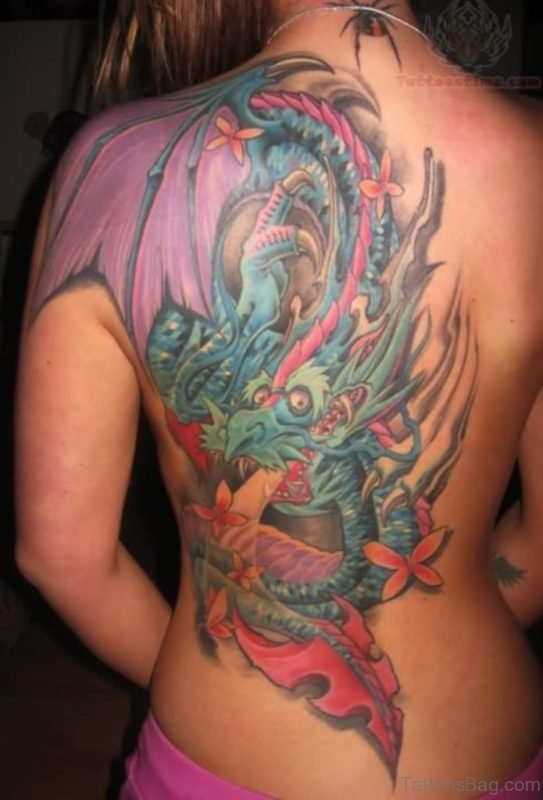 Multi Color Dragon Shoulder Tattoo