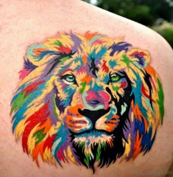 Multicolored Lion Tattoo