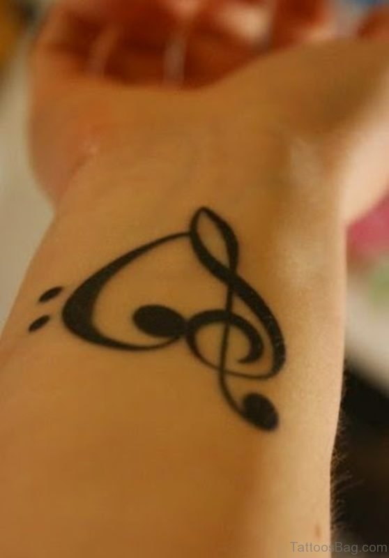 Music Heart Tattoo On Wrist