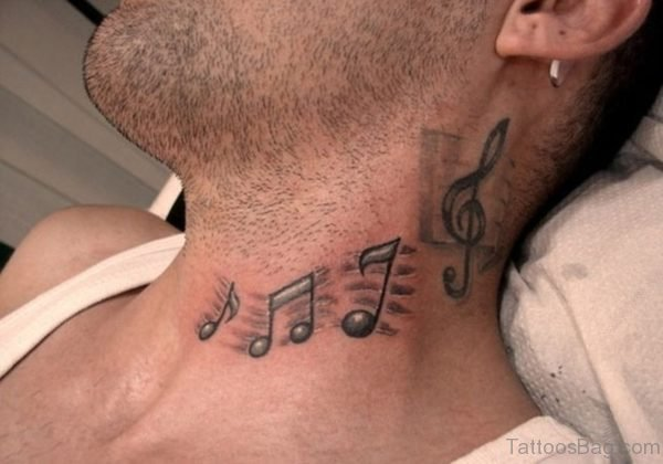 Music Note Tattoo On Neck