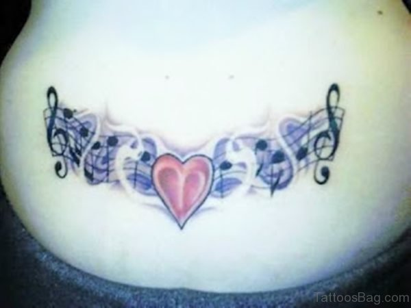 Music Notes And Heart Tattoo