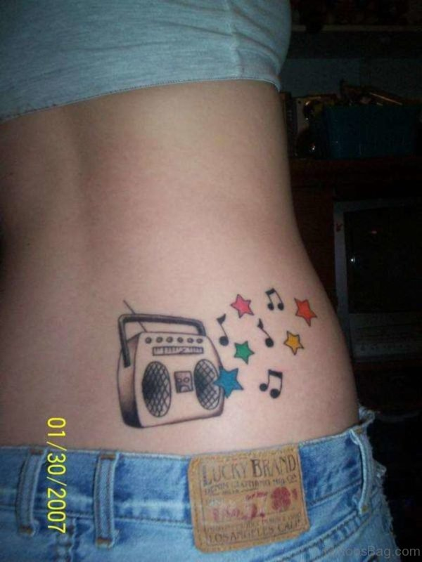 Music Player And  Music Note Tattoo