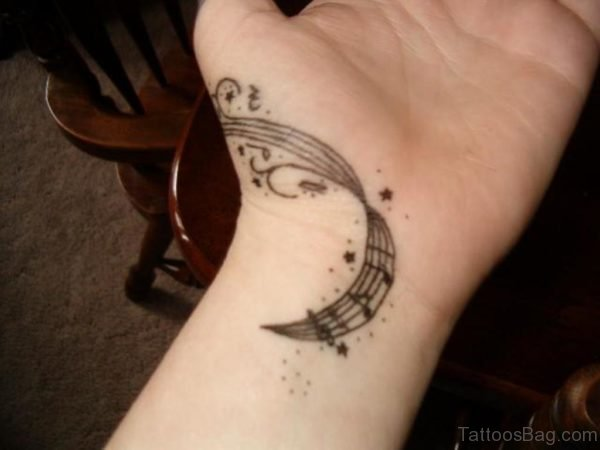 Nice Music Tattoo Design On Wrist