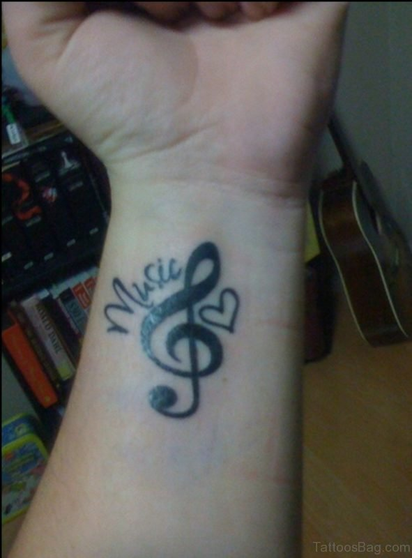 Music Violin Note Tattoo On Wrist