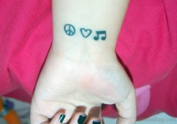 Music Word And Peace Tattoo