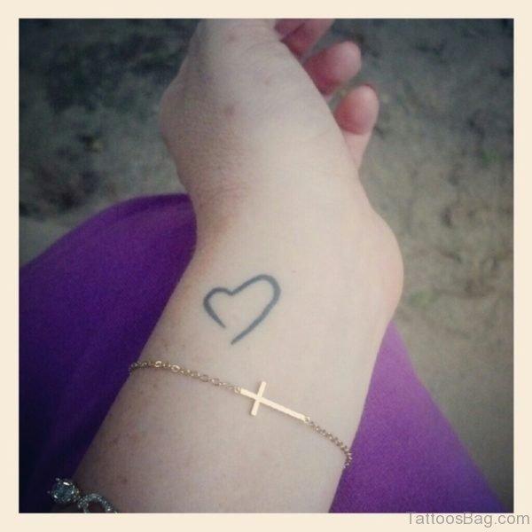 Nice Heart Tattoo On Wrist