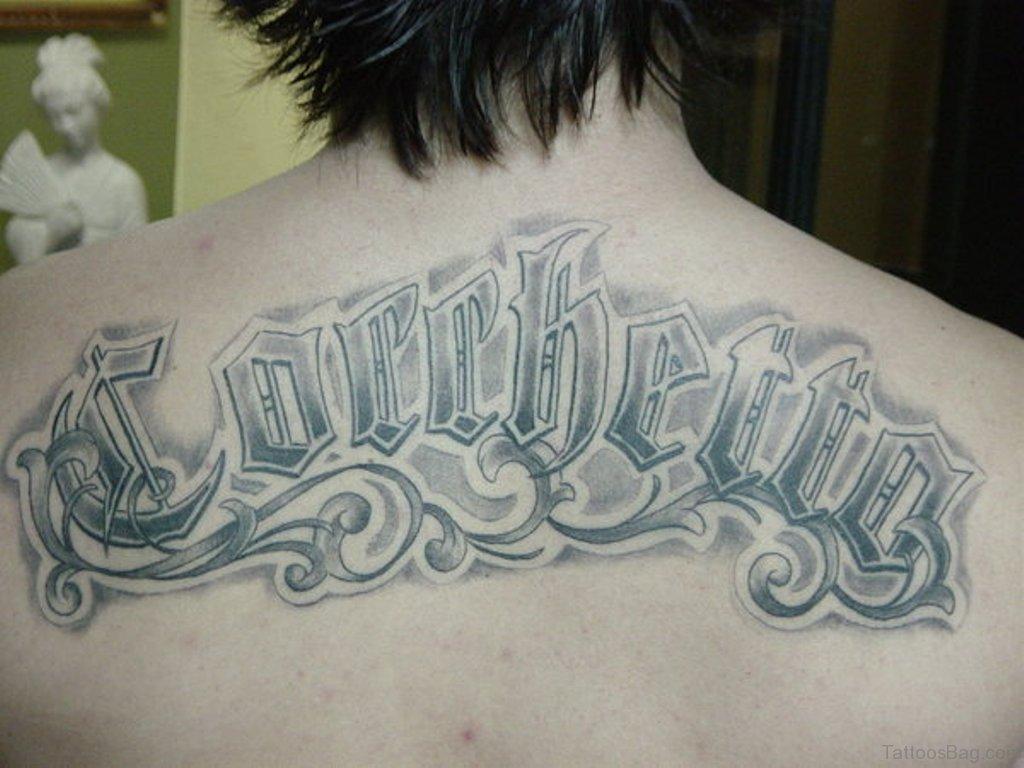 66 cool lettering tattoos for back. Black Bedroom Furniture Sets. Home Design Ideas