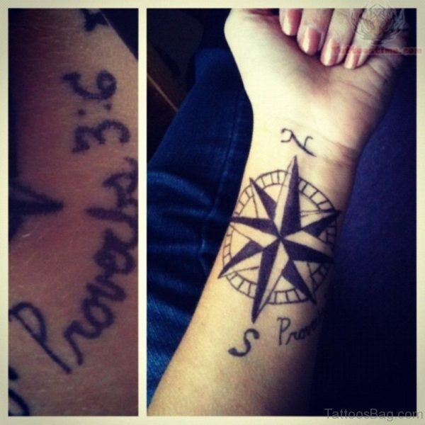 Nautical Compass Tattoo  On Wrist