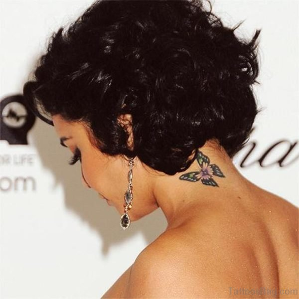 Nice Butterfly Tattoo On Neck