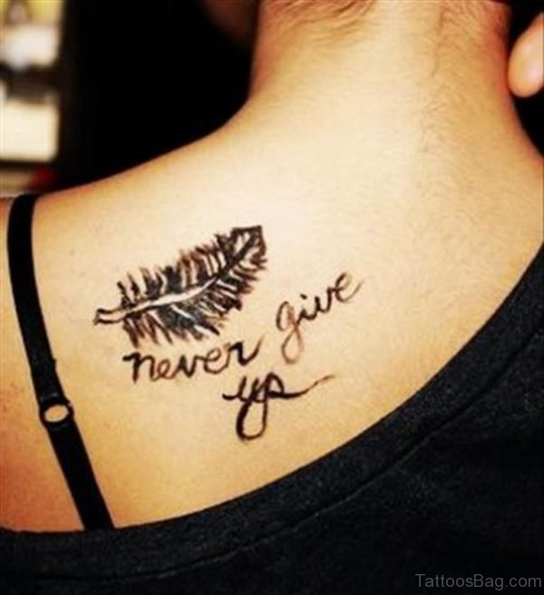 Never Give Up Feather Tattoo