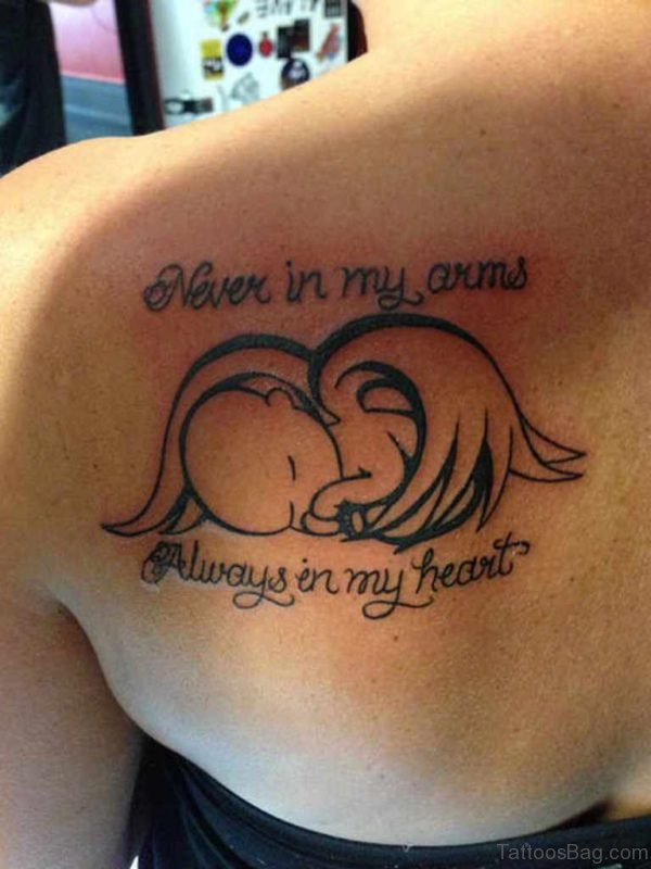 Never In My Arms Memorial Angel Tattoo