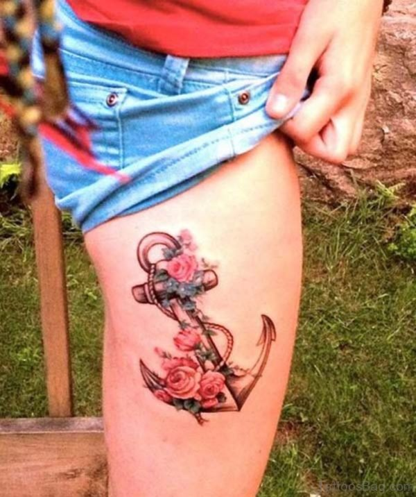 Nice Anchor And Rose Tattoo