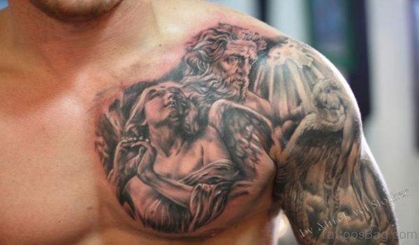 Nice Angel Tattoo On Front Shoulder