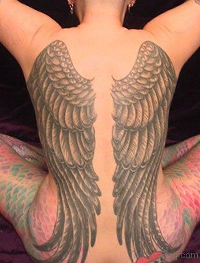Nice Angel Wings Tattoo  On Full Back