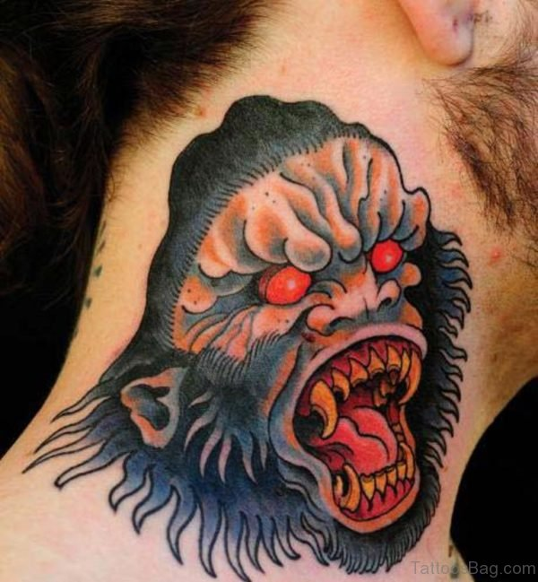 Nice Angry Monkey Neck Tattoo Design
