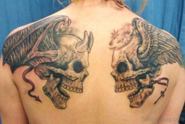 Nice Back Skull Tattoo