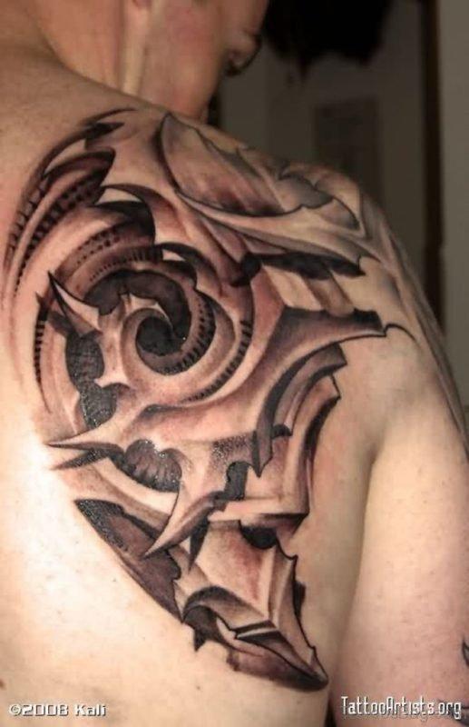 Nice  Biomechanical Tattoo On Back