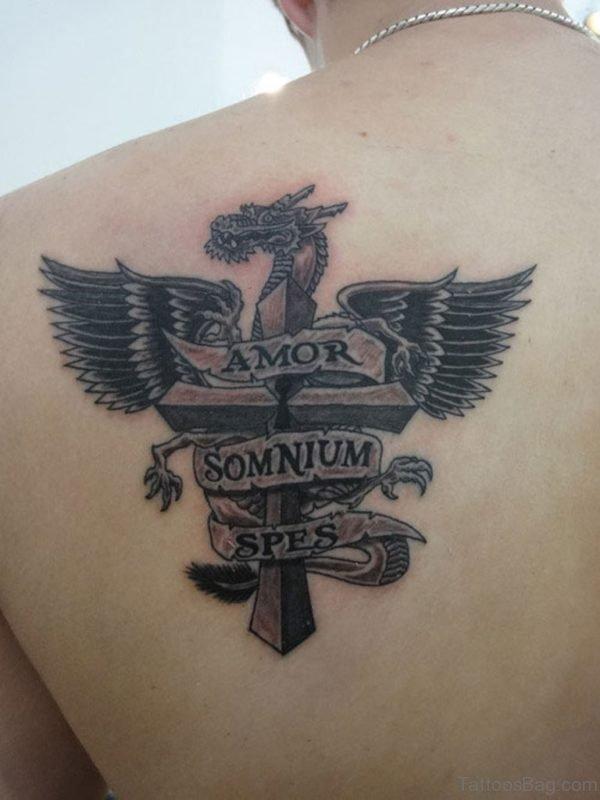 Nice Black Cross Wings Tattoo