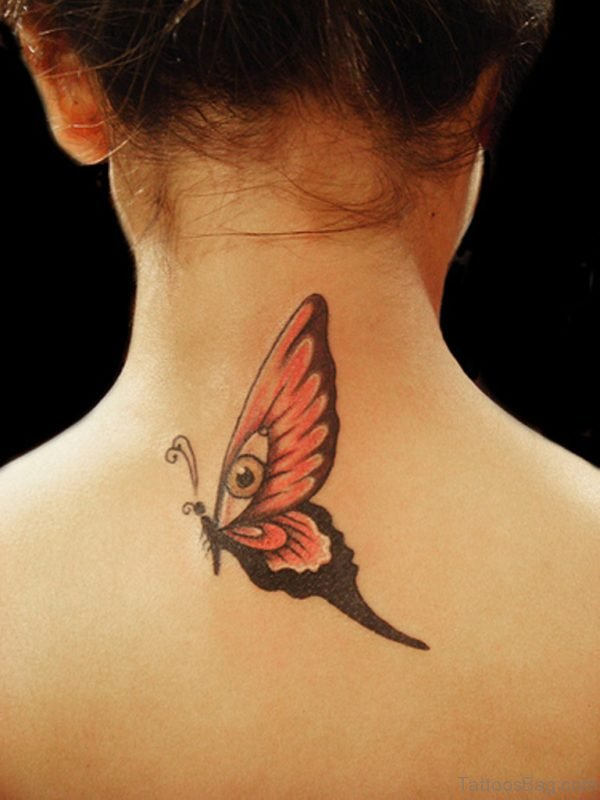 Nice Butterfly Tattoo Design On Neck Back
