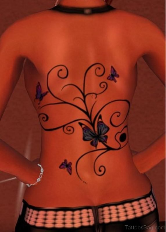 Nice Butterfly Tattoo On Full Back