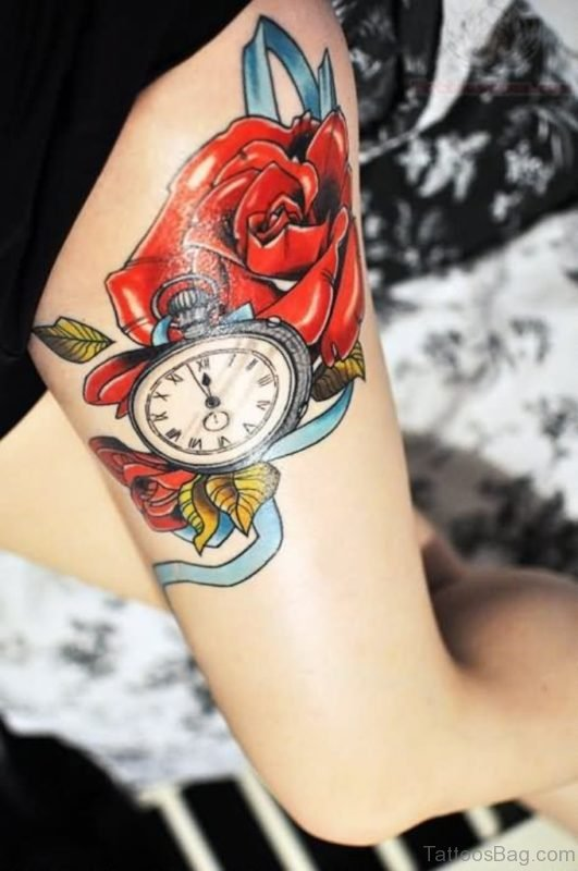 Nice Clock And Rose Tattoo