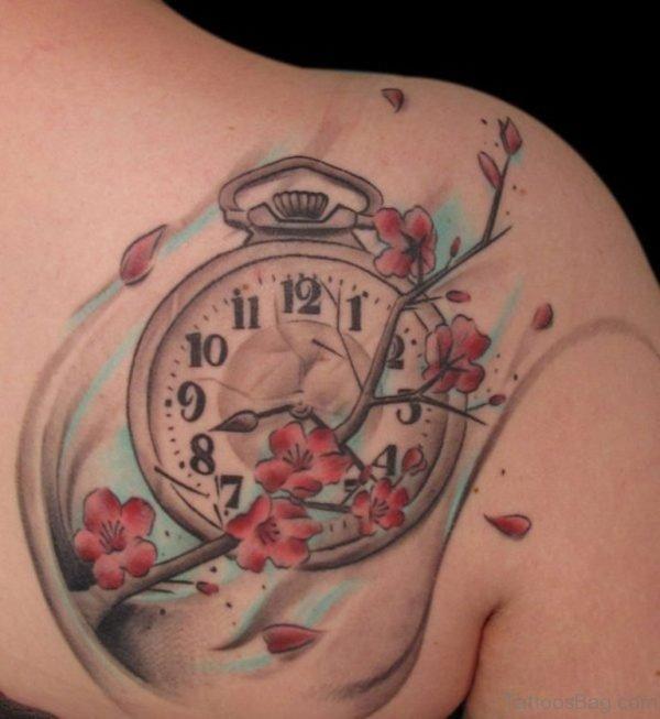 Nice Clock Tattoo Design On Back