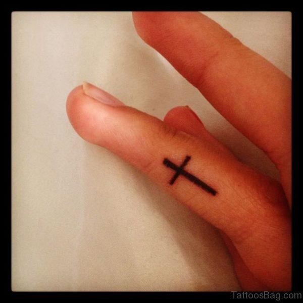 Nice Cross Tattoo Design On Finger