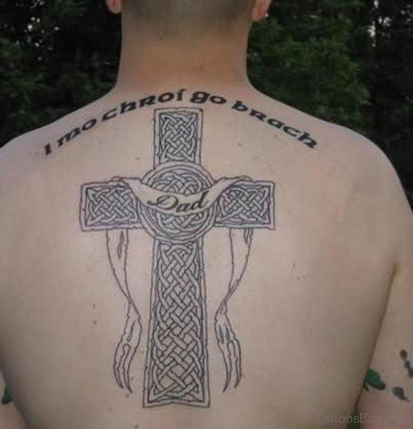 Nice Cross Tattoo On Back