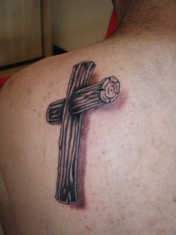 Nice Cross Tattoo On Back