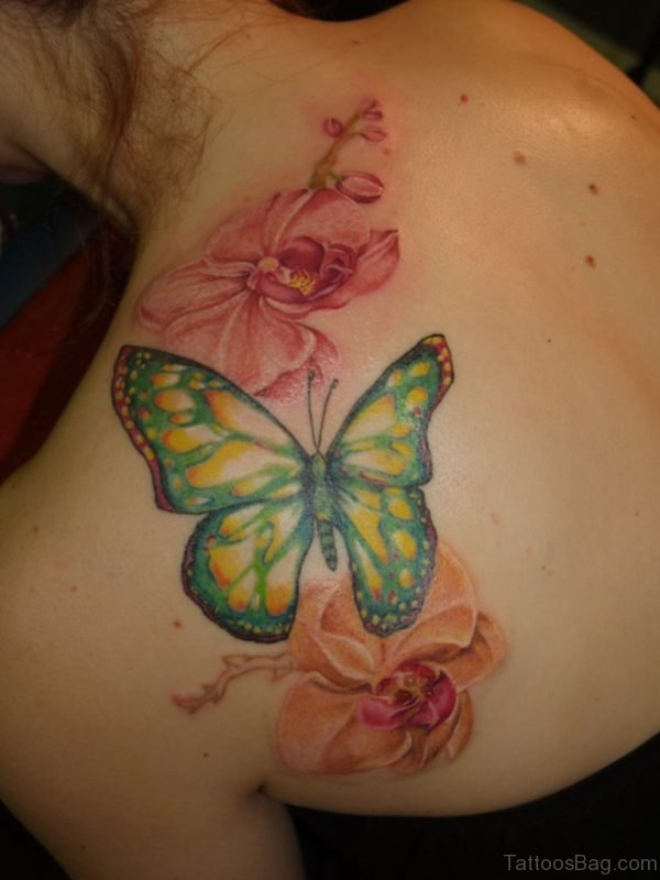 Nice Flower And Butterfly Tattoo