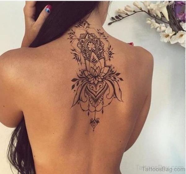 Nice Flower Tattoo On Back