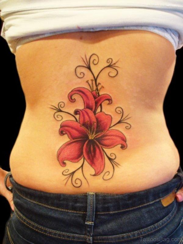 Nice Flower Tattoo Design On Lower Back