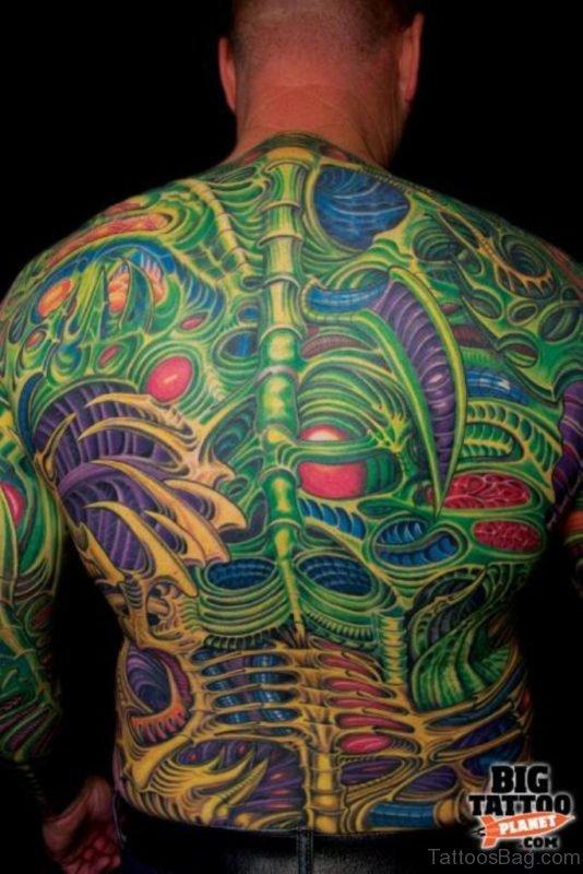 Nice Green Biomechanical Tattoo
