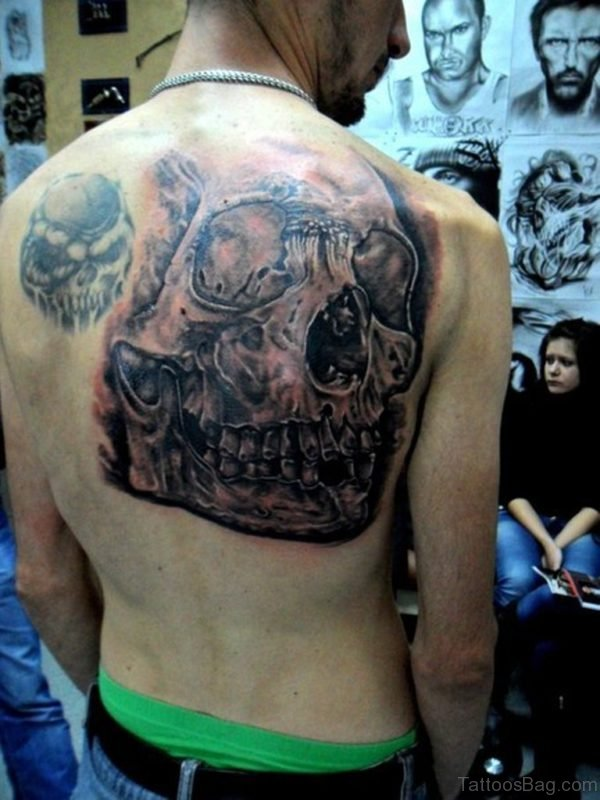 Nice Grey Skull Tattoo
