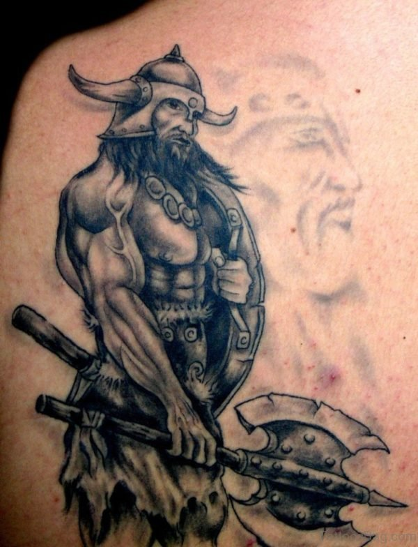 Nice Grey Viking Tattoo On Left Shoulder