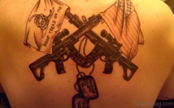 Nice Gun Tattoo  Design On Back