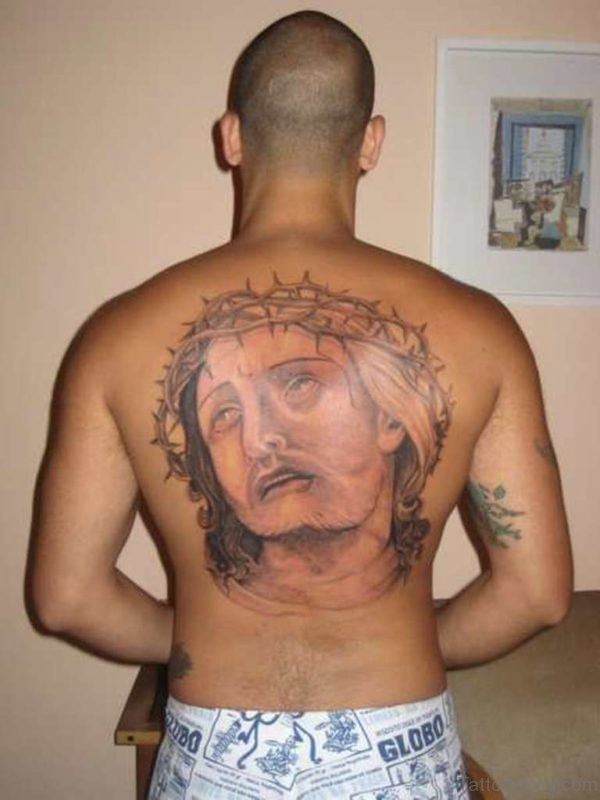 Nice Jesus Tattoo Design On Back