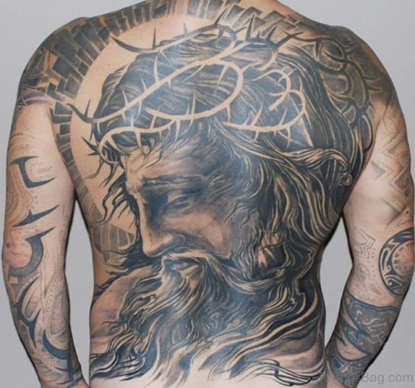 Nice Jesus Tattoo On Back
