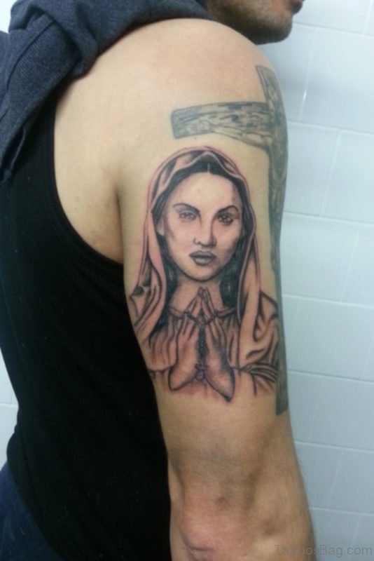 Nice Mary Shoulder Tattoo Design