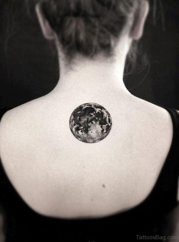 Nice Moon Tattoo On Back