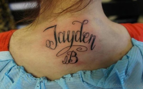 Nice Name Tattoo On Back