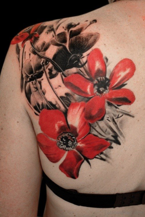 Nice Red Flowers Shoulder Tattoo