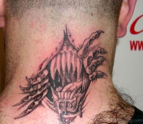 Nice Ripped Skin Tattoo Design On Neck