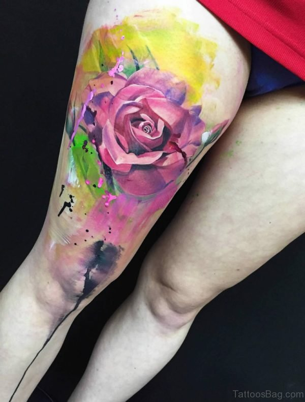 Nice Rose Tattoo On Thigh