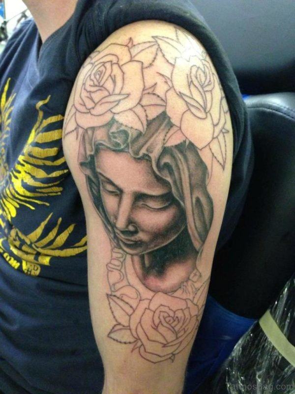 Nice Roses And Mary Tattoo
