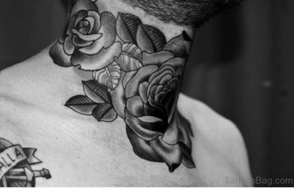 Nice Roses Tattoo On Neck