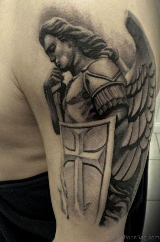 Nice Shoulder Tattoo Of Angel