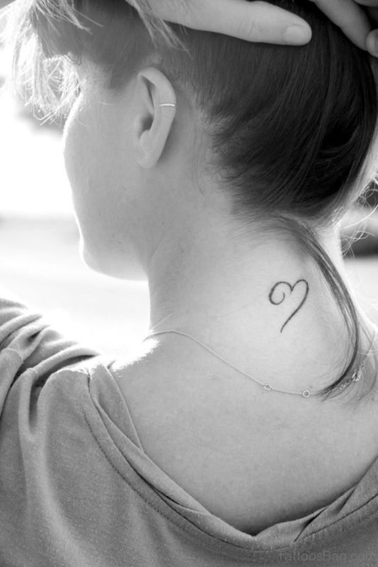 Nice Simple Heart Neck Tattoo