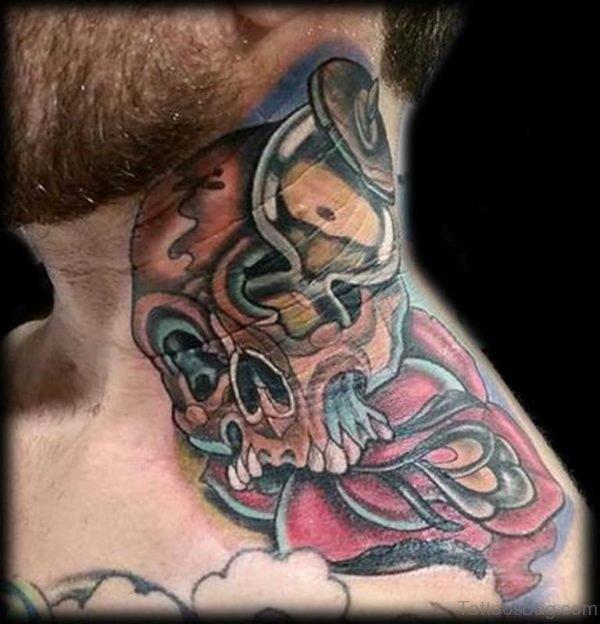 Nice Skull And Rose Tattoo