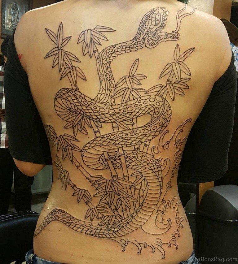 Nice Snake Tattoo On Full Back